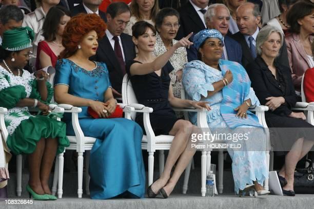 Antoinette Sassou Nguesso Chantal Biya Carla Sarkozy Chantal Compaore Penelope Fillon in Paris France on July 14th 2010