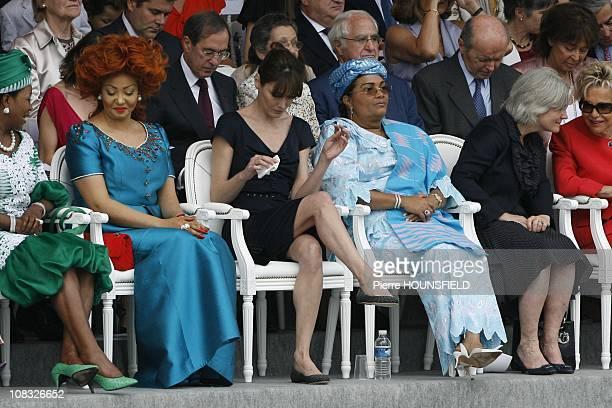 Antoinette Sassou Nguesso Chantal Biya Carla Sarkozy Chantal Compaore Penelope Fillon Viviane Wade in Paris France on July 14th 2010