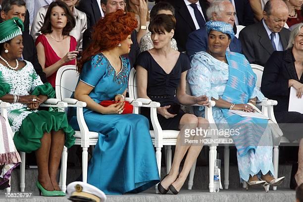 Antoinette Sassou Nguesso Chantal Biya Carla Sarkozy Chantal Compaore in Paris France on July 14th 2010