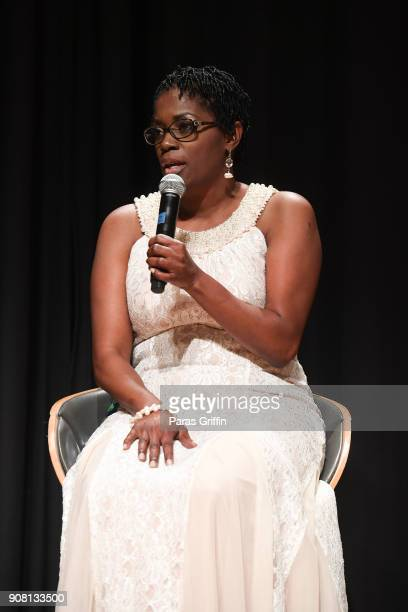 """Antoinette Tuff speaks onstage at """"Faith Under Fire: The Antoinette Tuff Story"""" red carpet screening at Woodruff Arts Center on January 20, 2018 in..."""