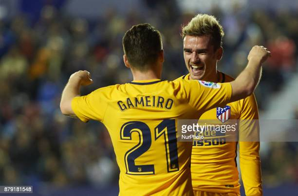 Antoinne Griezmann and Kevin Gameiro of Club Atletico de Madrid celebrates after scoring a goal during the La Liga match between Levante UD and Club...