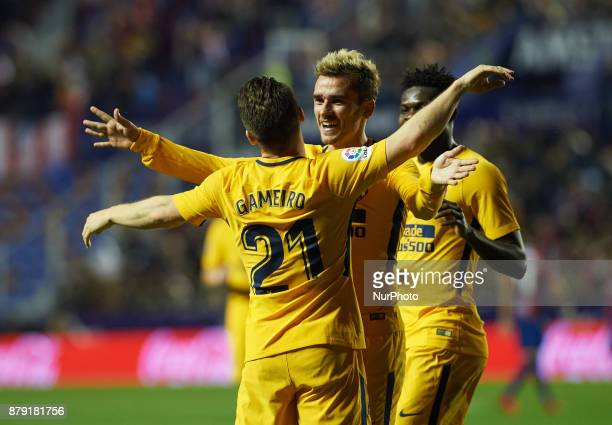 Antoinne Griezmann and Kevin Gameiro of Club Atletico de Madrid celebrates after scoring a goal in action during the La Liga match between Levante UD...
