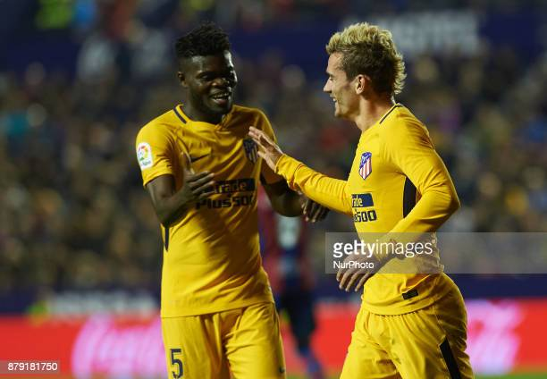 Antoinne Griezmann and Thomas Partey of Club Atletico de Madrid celebrates after scoring a goal in action during the La Liga match between Levante UD...