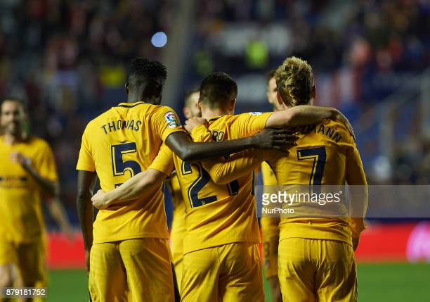 Antoinne Griezmann Kevin Gameiro and Thomas Partey of Club Atletico de Madrid celebrates after scoring a goal in action during the La Liga match...