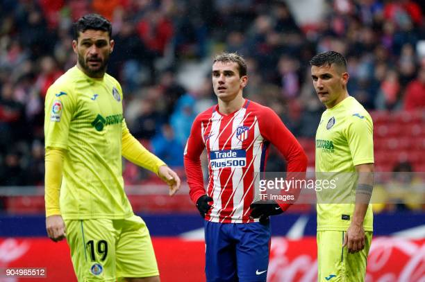 Antoinne Griezmann of Atletico Madrid looks on during the La Liga match between Atletico Madrid and Getafe at Estadio Wanda Metropolitano on January...