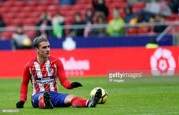 Antoinne Griezmann of Atletico Madrid on the ground during the La Liga match between Atletico Madrid and Getafe at Estadio Wanda Metropolitano on...