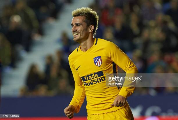 Antoinne Griezmann of Club Atletico de Madrid celebrates after scoring a goal in action during the La Liga match between Levante UD and Club Atletico...