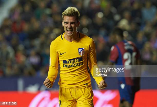Antoinne Griezmann of Club Atletico de Madrid celebrates after scoring a goal during the La Liga match between Levante UD and Club Atletico de Madrid...