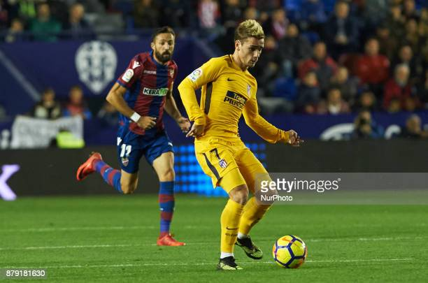 Antoinne Griezmann of Club Atletico de Madrid in action during the La Liga match between Levante UD and Club Atletico de Madrid at Estadio Ciutat de...