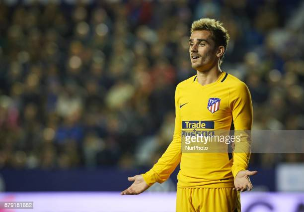 Antoinne Griezmann of Club Atletico de Madrid reacts during the La Liga match between Levante UD and Club Atletico de Madrid at Estadio Ciutat de...