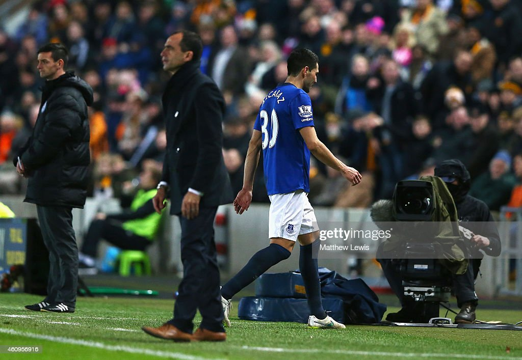 Antolin Alcaraz of Everton leaves the field after being sent off during the Barclays Premier League match between Hull City and Everton at KC Stadium on January 1, 2015 in Hull, England.