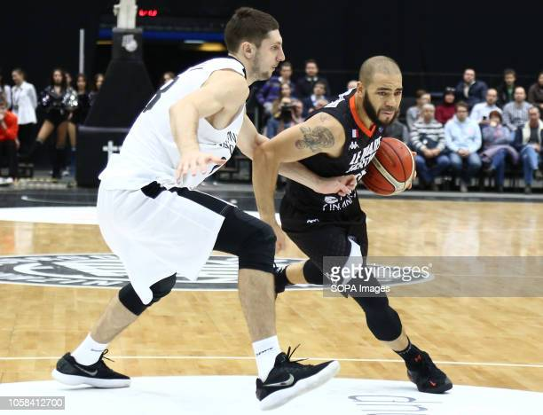 Anton Astapkovich and Michael Thomson seen in action during the game Basketball Champions League BC Nizhny Novgorod from Russia vs Le Mans from...
