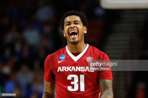 Anton Beard of the Arkansas Razorbacks reacts in the first half against the North Carolina Tar Heels during the second round of the 2017 NCAA Men's...