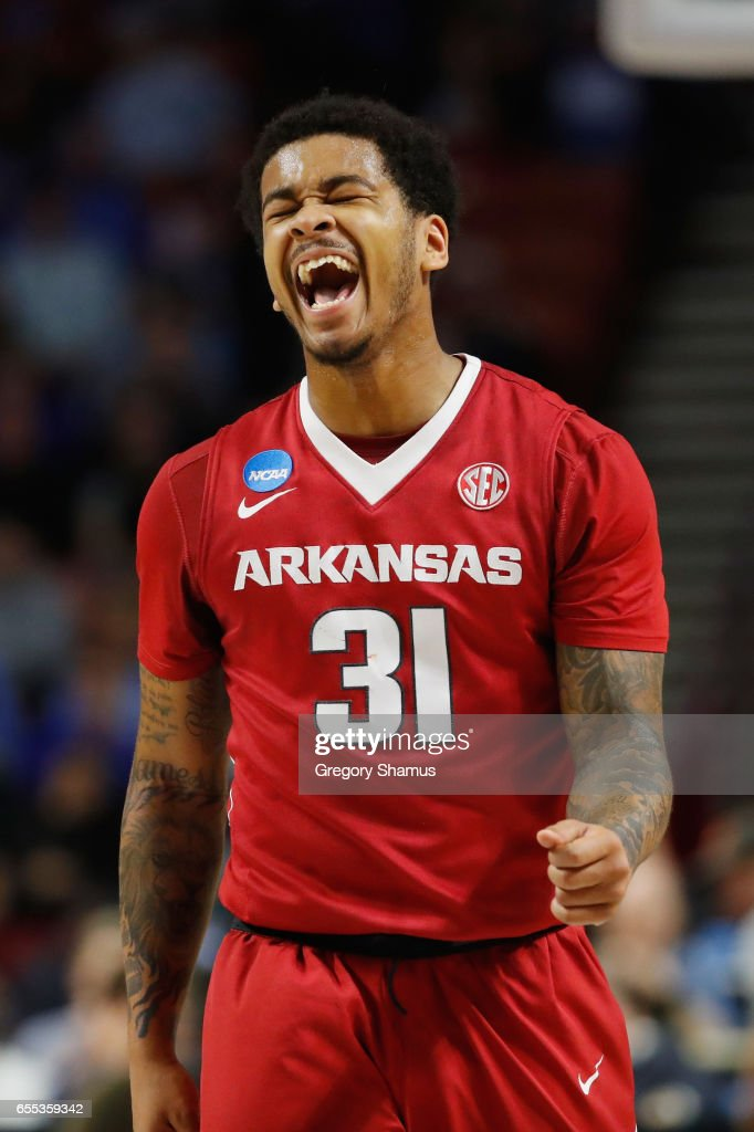 Anton Beard #31 of the Arkansas Razorbacks reacts in the first half against the North Carolina Tar Heels during the second round of the 2017 NCAA Men's Basketball Tournament at Bon Secours Wellness Arena on March 19, 2017 in Greenville, South Carolina.