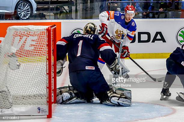 Anton Belov of Russia tries to score against Jack Campbell , goalkeeper of USA, during the IIHF World Championship group B match between Russia and...