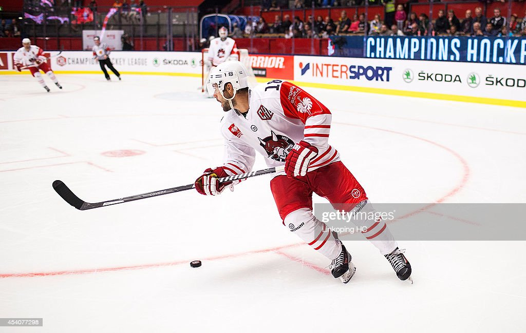 Anton Bernard #18 of HC Bolzano skates on ice during the Champions Hockey League group stage game between Linkoping HC and HC Pardubice on August 22, 2014 in Linkoping, Sweden.