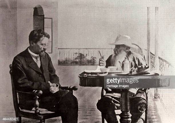 Anton Chekhov and Leo Tolstoy Russian authors 1902 Chekhov and Tolstoy at Tolstoy's home in Gaspra Crimea where he lived in 19011902 Found in the...