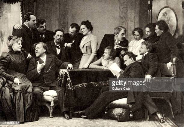 Anton Chekhov with actors of the Moscow State Art Theatre in 1899 from l to r standing Vishnevsky Luzhski Niemirovich Danchenko Knipper Stanislavsky...