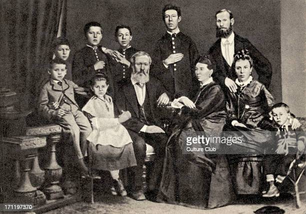 Anton Chekhov with his family in 1874 Taganrog left to right Mikhail Maria Pavel Egorovich Evgenia Yakovlevna aunt and son Brothers standing Ivan...