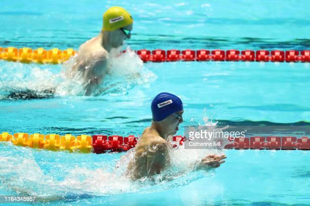 Anton Chupkov of Russia and Matthew Wilson of Australia compete in the Men's 200m Breaststroke Final on day six of the Gwangju 2019 FINA World...
