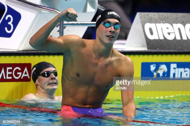 Anton Chupkov of Russia celebrates after winning the gold medal during the Men's 200m Breaststroke final on day fifteen of the Budapest 2017 FINA...
