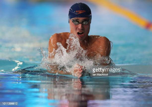 Anton Chupkov of Russia competes during the Men's 200m Breaststroke heats on Day Four of the European Championships Glasgow 2018 at Tollcross...