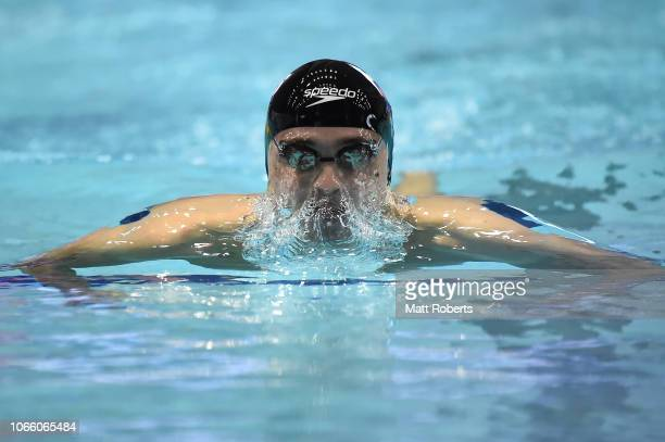Anton Chupkov of Russia competes during the Men's 200m Breaststroke heats on day three of the FINA Swimming World Cup at Tokyo Tatsumi International...