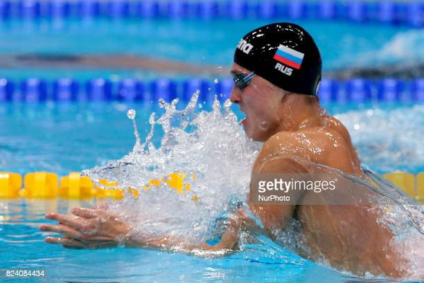 Anton Chupkov of Russia competes during the Men's 200m Breaststroke final on day fifteen of the Budapest 2017 FINA World Championships on July 28...