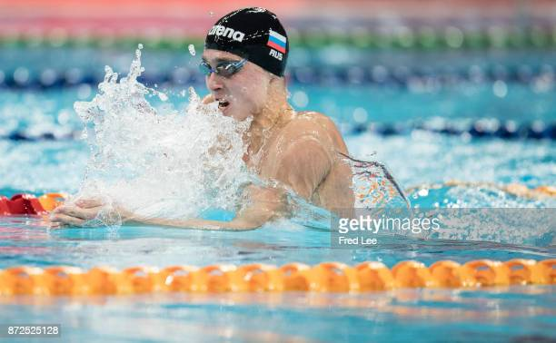 Anton Chupkov of Russia competes in the Men's 200m Breaststroke final on day one of the FINA swimming world cup 2017 at Water Cube on November 10...