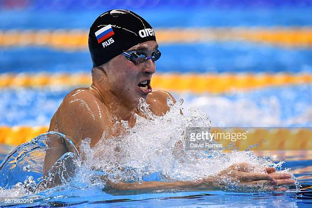 Anton Chupkov of Russia competes in the Men's 200m Breaststroke heat 5 on Day 4 of the Rio 2016 Olympic Games at the Olympic Aquatics Stadium on...