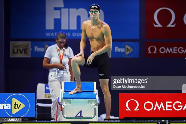 Anton Chupkov of Russia looks on before he competes in the Mens 200m Breaststroke heat on day three of the FINA Swimming World Cup held at Pieter van...