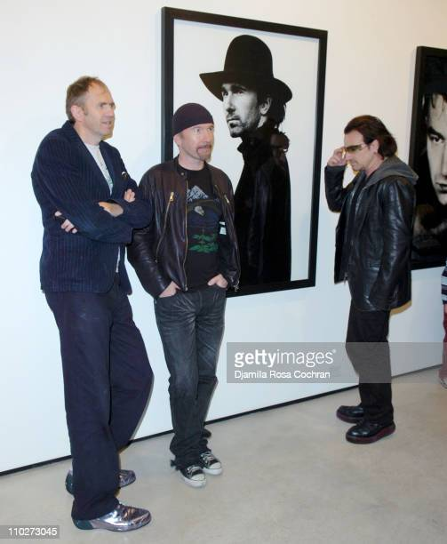 Anton Corbijn The Edge and Bono during Anton Corbijn's 'U2 I' Opening at the Stellan Holm Gallery at Stellan Hom Gallery in New York City New York...