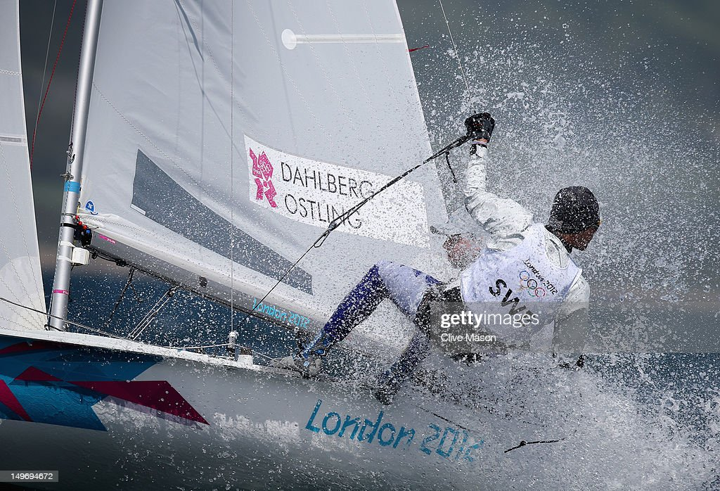 Anton Dahlberg and Sebastian Ostling of Sweden compete in the Men's 470 Sailing on Day 6 of the London 2012 Olympic Games at the Weymouth & Portland Venue at Weymouth Harbour on August 2, 2012 in Weymouth, England.
