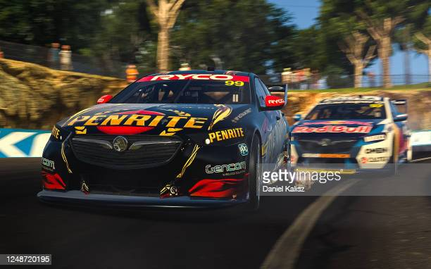 Anton de Pasquale drives the Penrite Racing Holden Commodore ZB and Shane van Gisbergen drives the Red Bull Holden Racing Team Holden Commodore ZB...