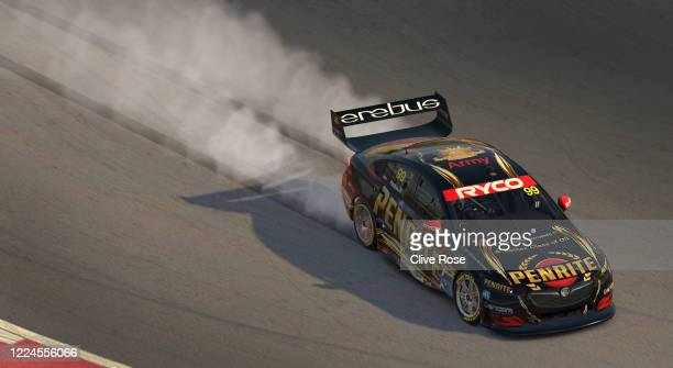 Anton de Pasquale driving the Penrite Racing Holden Commodore ZB celebrates his win during round 6 of the Supercars All Stars Eseries at Circuit of...