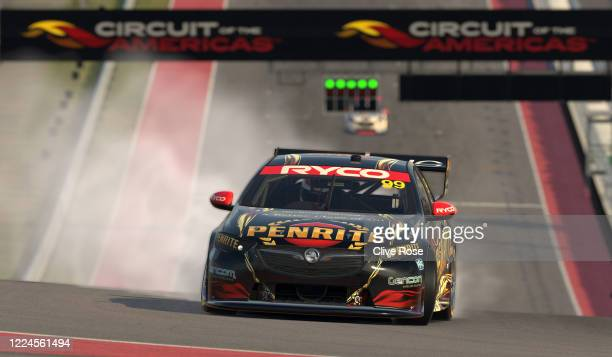 Anton de Pasquale driving the Penrite Racing Holden Commodore ZB celebrates victory in the Feature race at round 6 of the Supercars All Stars Eseries...