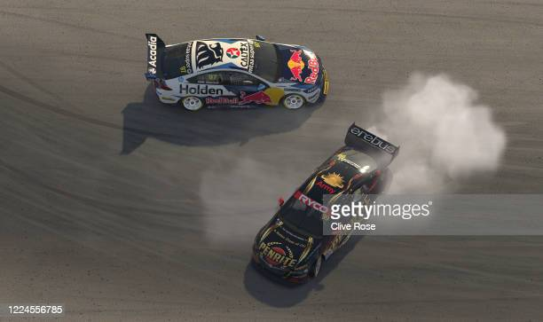 Anton de Pasquale driving the Penrite Racing Holden Commodore ZB is hit by Shane van Gisbergen driving the Red Bull Holden Racing Team Holden...