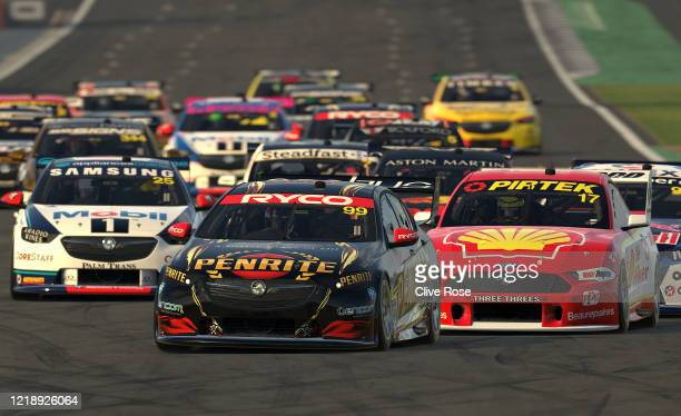 Anton De Pasquale driving the Penrite Racing Holden Commodore ZB leads the field away in Race 4 during round 2 of the Supercars All Stars Eseries at...