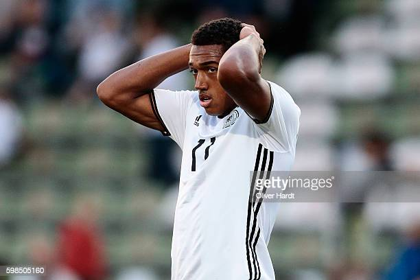 Anton Donkor of Germany appears frustrated during the international friendly match between U20 Germany and U20 Italy at Stadion Lohmuehle on...