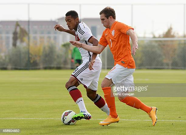 Anton Donkor of Germany challenges Martijn Berden of Netherlands during the international friendly match between U18 Germany and U18 Netherlands on...