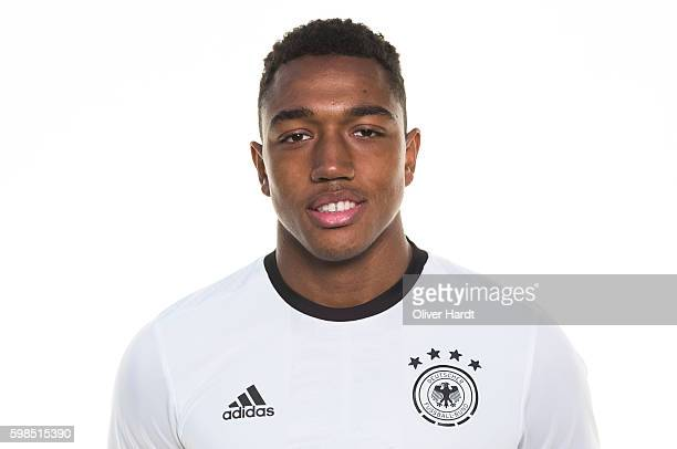 Anton Donkor of Germany poses during the Germany U20 Team Presentation at Stadion Lohmuele on August 30 2016 in Luebeck Germany