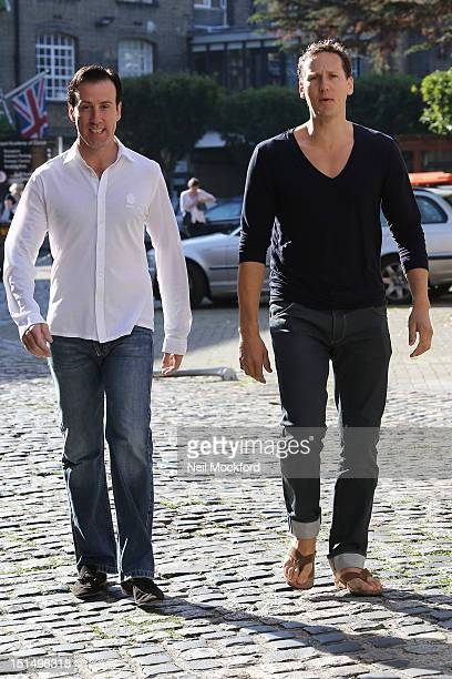 Anton Du Beke and Brendan Cole seen arriving at rehearsals for 2012 Strictly Come Dancing on September 8 2012 in London England