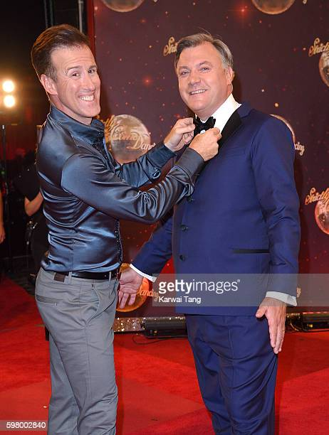 Anton du Beke and Ed Balls arrive for the Red Carpet Launch of 'Strictly Come Dancing 2016' at Elstree Studios on August 30 2016 in Borehamwood...