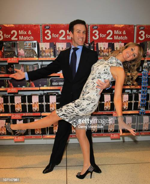 Anton Du Beke and Erin Boag attend the new Strictly Come Dancing makeup range gift signing at Boots on November 25 2010 in London England