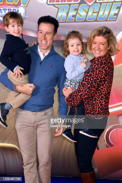"""Anton Du Beke and Hannah Summers attend the """"Paw Patrol"""" gala screening at Cineworld Leicester Square on January 19, 2020 in London, England."""