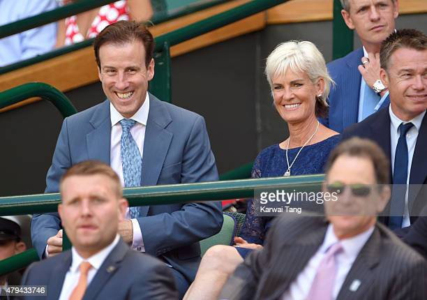 Anton du Beke and Judy Murray attend day six of the Wimbledon Tennis Championships at Wimbledon on July 4 2015 in London England