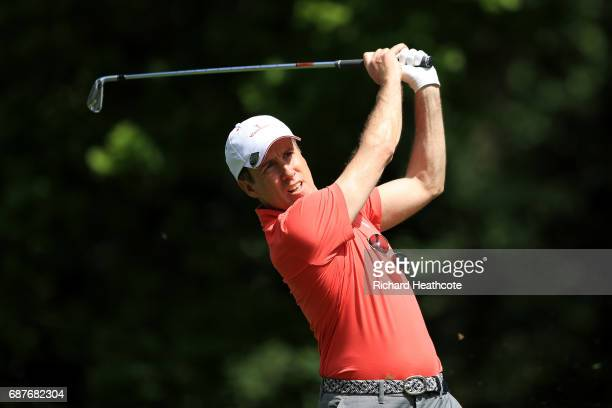 Anton du Beke tees off during the BMW PGA Championship ProAm at Wentworth on May 24 2017 in Virginia Water England