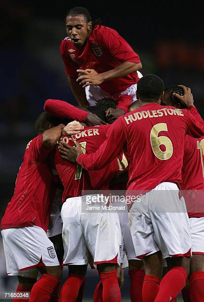 Anton Ferdinand of England celebrates the second goal with team mates during the UEFA European Under 21's Group 8 match between England U21's and...