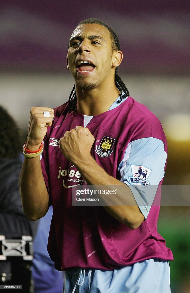Anton Ferdinand of West Ham celebrates victory after the Barclays Premiership match between Birmingham City and West Ham United at St Andrews Road on December 5, 2005 in Birmingham, England.