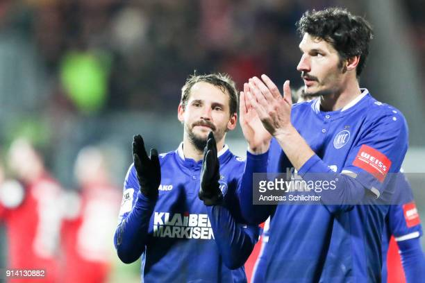 Anton Fink Dominik StrohEngel of Karlsruher SC during the 3 Liga match between SV Wehen Wiesbaden and Karlsruher SC at on February 2 2018 in...